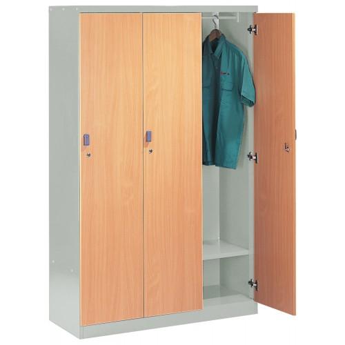 3 WOODEN DOOR STEEL LOCKER (ST-W3D)