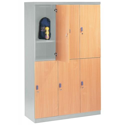 6 WOODEN DOOR STEEL LOCKER (ST-W6D)
