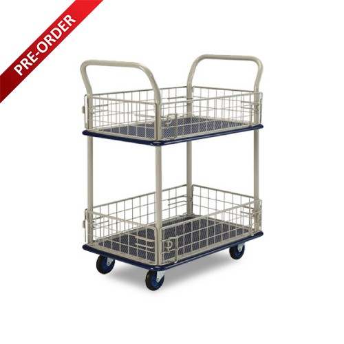 DOUBLE DECKER SINGLE HANDLE TROLLEY WITH SIDE NETTING (NB127 & PS127)