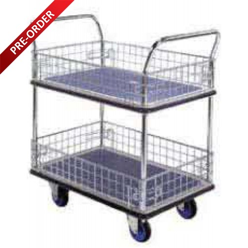 DOUBLE DECKER SINGLE HANDLE TROLLEY WITH SIDE NETTING (NF327 & PM327)