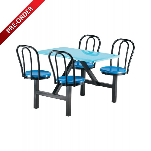 4 SEATER FIBREGLASS TABLE WITH BACKREST (NON-SWIVEL) (RD-E0147)