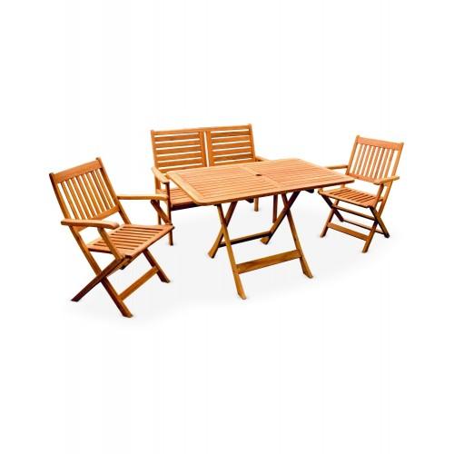 CAFE / GARDEN SET (HK MANHATTAN ARM CHAIR + HK NAPOLI BENCH CHAIR + HK NAPOLI TABLE (3+1))