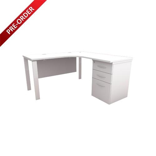 N SERIES L-SHAPE TABLE C/W 2D+1F FIXED PEDESTAL (OF-NL-LS1FP)